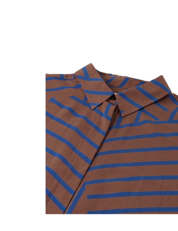 Viscose Stripe Salaxa, Mid Brown/Blue