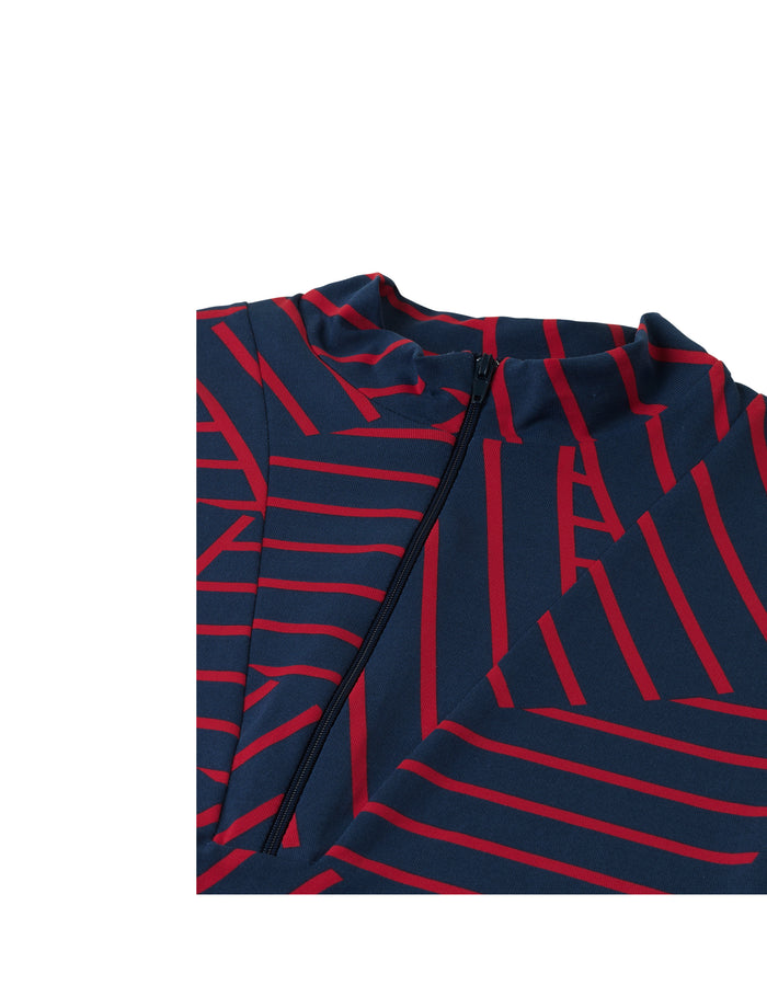 Stretch stripe Bodil zip, Navy/Red