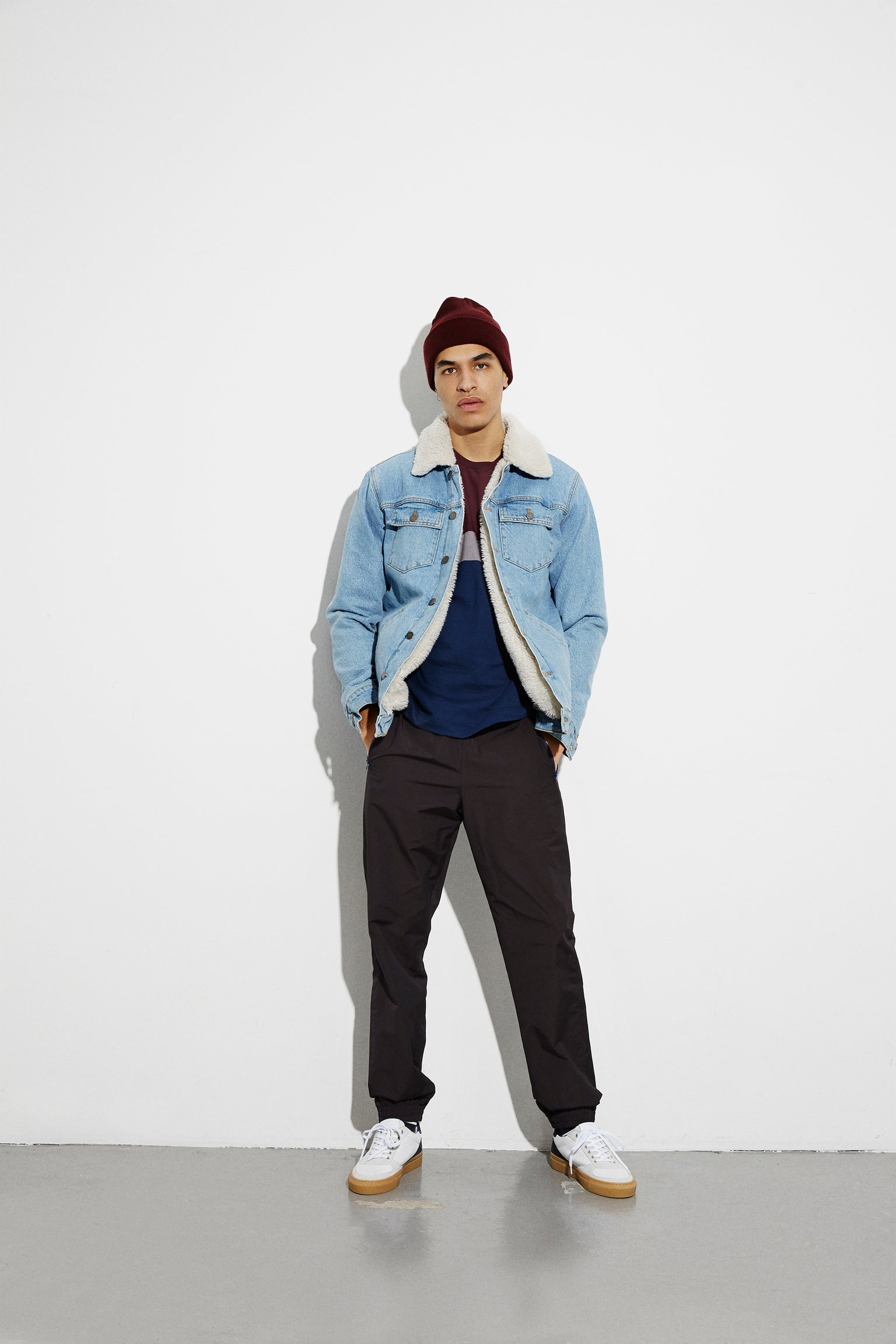 Sherpa Denim Jacket Zaggy, Stone Bleach