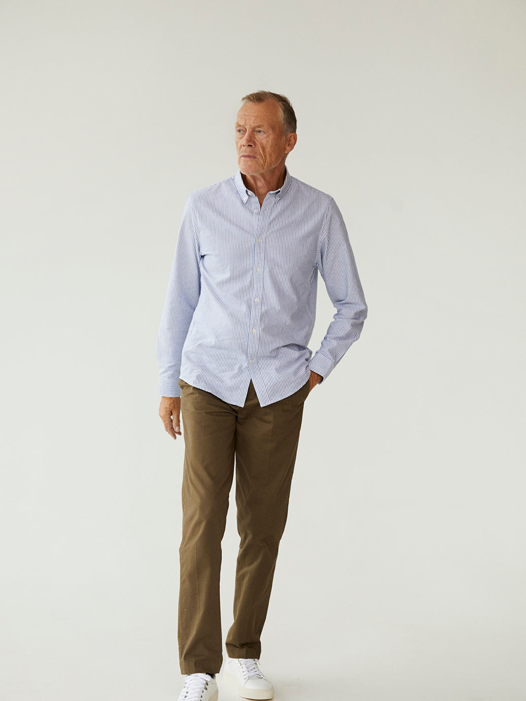 Striped Oxford Sawsett, Blue Stripe