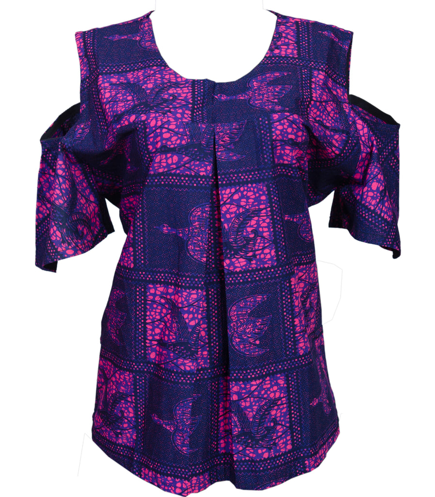 Purple Shoulder Top - Afrocentric Fashion Store-Ebbyz