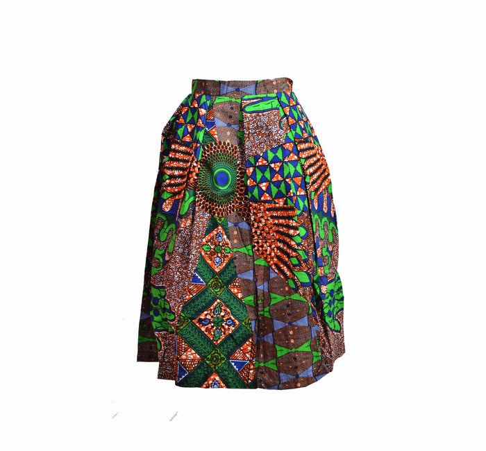 Toyosi Ankara Pleated Skirt (Size 10 only)