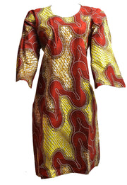 Brown/Yellow Funnel Sleeve Short Dress - Afrocentric Fashion Store-Ebbyz