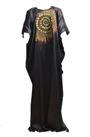 Silk Patched Maxi Dress - Afrocentric Fashion Store-Ebbyz