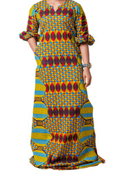Adaure Puffed Sleeve African Print Maxi Long Dress - Afrocentric Fashion Store-Ebbyz