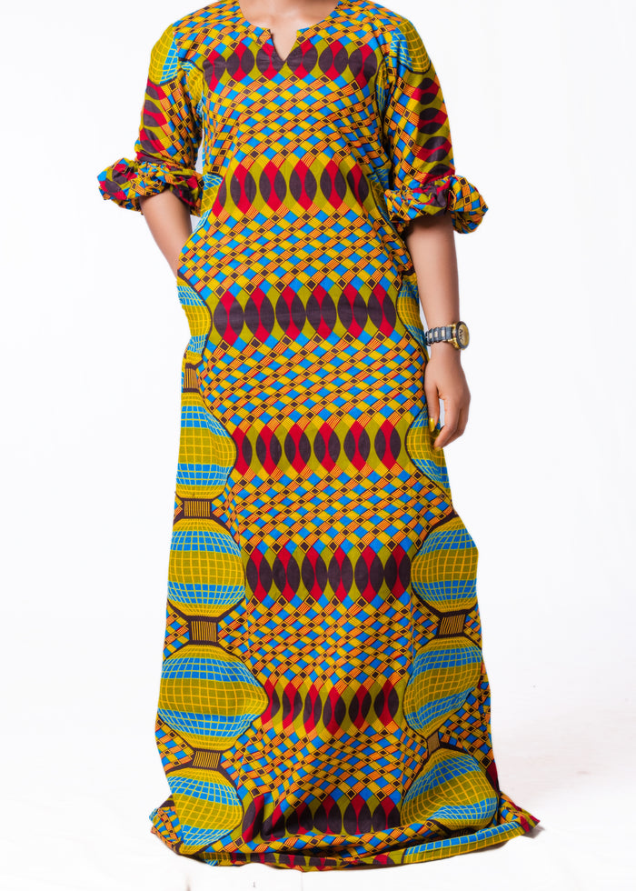 Adaure Puffed Sleeve Maxi Dress