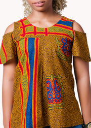 Yellow Open Shoulder Top - Afrocentric Fashion Store-Ebbyz