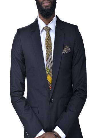 Mustard, Green & Red Ankara Tie