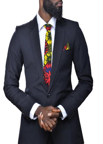 Red and Yellow Patterned Ankara Tie
