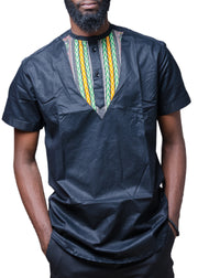Ankara Patch Cotton Shirt - Afrocentric Fashion Store-Ebbyz