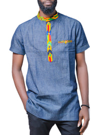 Denim/Ankara Shirt - Afrocentric Fashion Store-Ebbyz