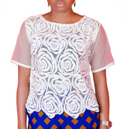 White Lace Top - Afrocentric Fashion Store-Ebbyz