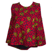 Red Ankara Flare Top - Afrocentric Fashion Store-Ebbyz
