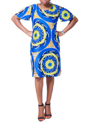 Open Shoulder Shift Dress - Afrocentric Fashion Store-Ebbyz