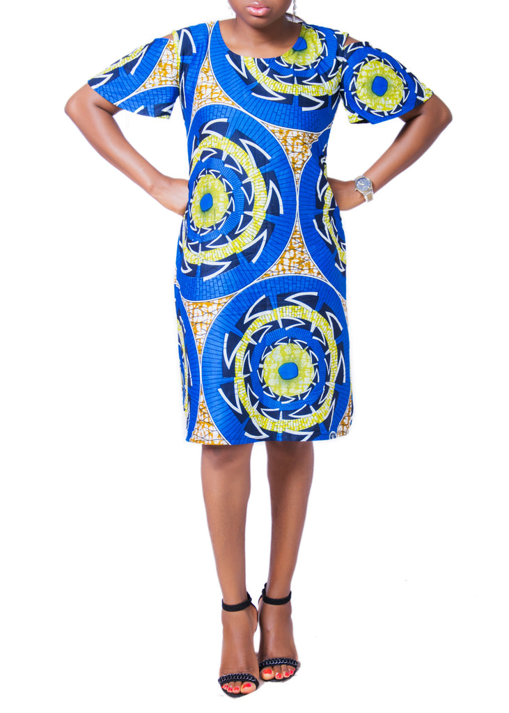 Flowery Cold Shoulder Dress - Afrocentric Fashion Store-Ebbyz