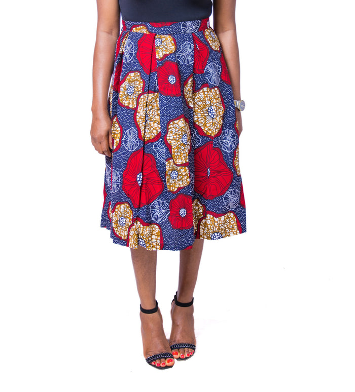 Toyosi Ankara Pleated Skirt