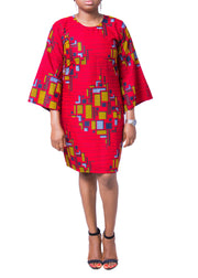 Ogonna Red Funnel Dress - Afrocentric Fashion Store-Ebbyz