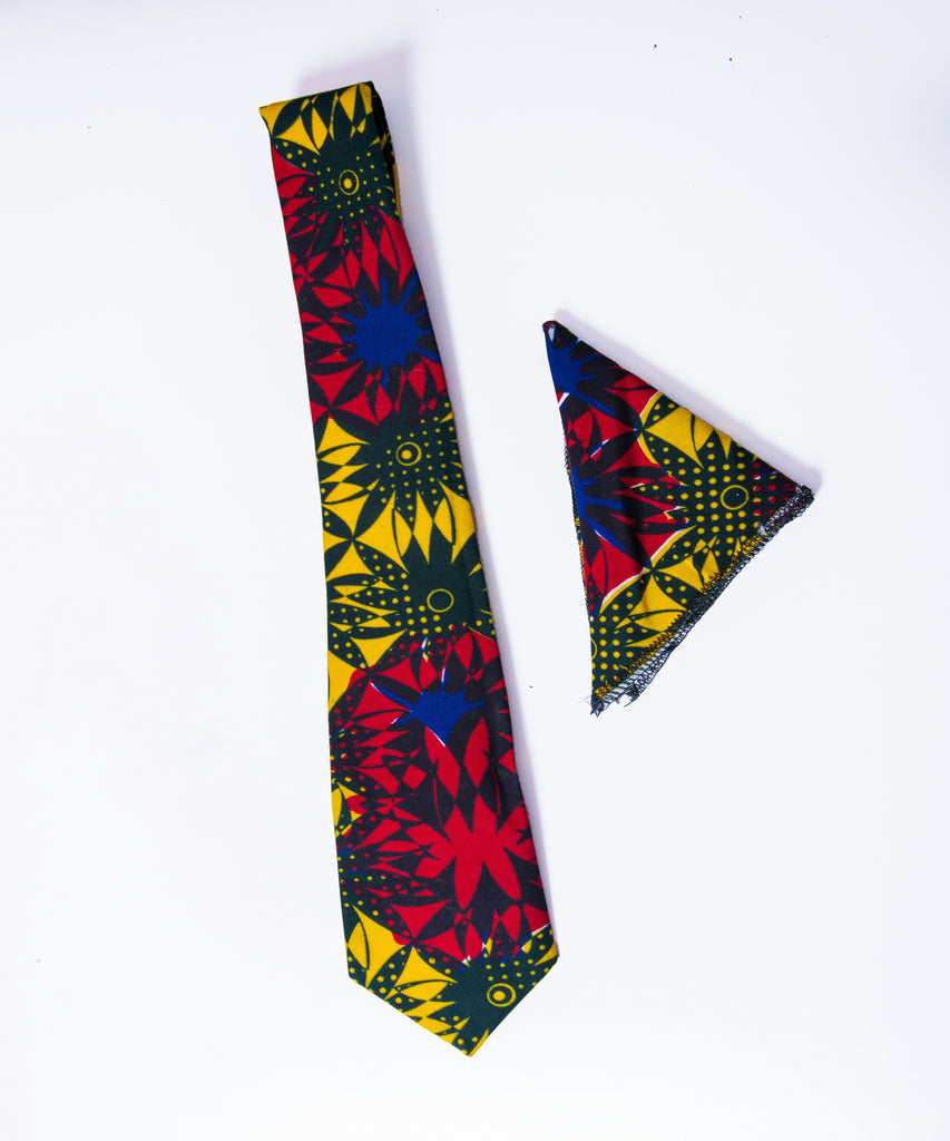 Red & Yellow Patterned Ankara Tie - Afrocentric Fashion Store-Ebbyz