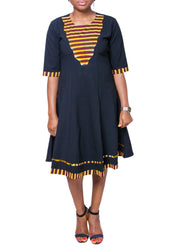 Ankara Patched Flare Dress - Afrocentric Fashion Store-Ebbyz