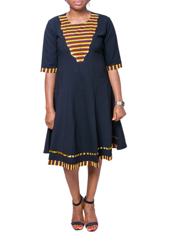 Ankara Patched Flare Dress
