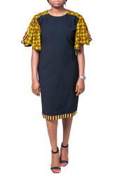 Ankara Flared Sleeve Dress - Afrocentric Fashion Store-Ebbyz