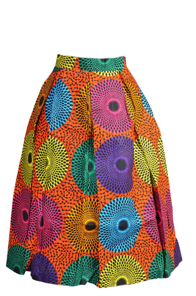 Toyosi Ankara Pleated Skirt (Sizes 10, & 12,)