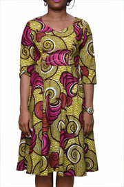 Oge Mid Flare Dress - Afrocentric Fashion Store-Ebbyz