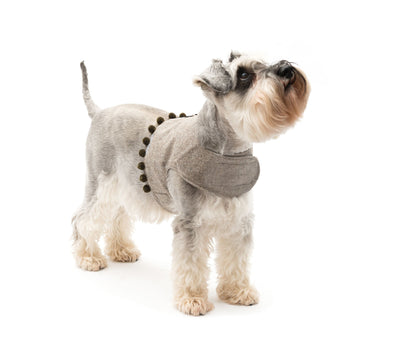 Grey Tweed Soft Dog Harness with Pom Poms
