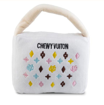 WHITE CHEWY VUITON PURSE | PLUSH SQUEAKER TOY