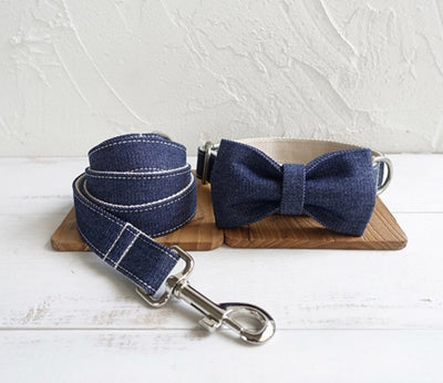 HARLOW DENIM  COLLAR, BOW TIE AND LEAD SET
