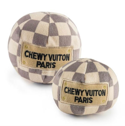 CHEWY VUITON CHECKER BALL | PLUSH SQUEAKER TOY
