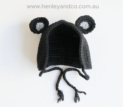 Hand Knitted Crochet Bear Beanie