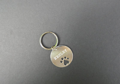 Custom Sterling Silver Paw Print Dog Tag