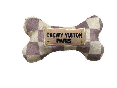CHEWY VUITON CHECKER BONE | PLUSH SQUEAKER TOY