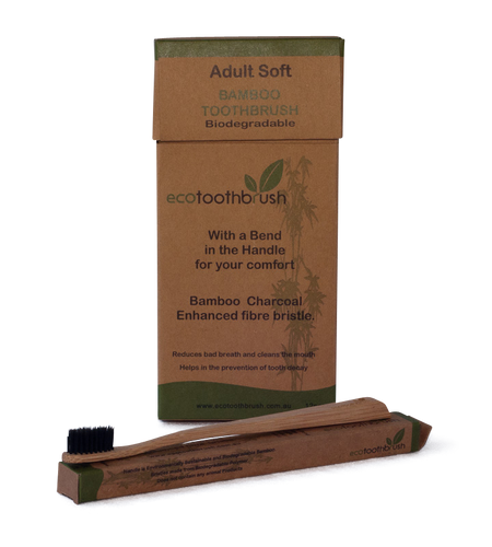Bamboo toothbrush with a bend