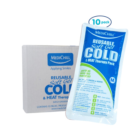 Medium Soft Gel Ice Pack Reusable Hot/Cold 10 Pack