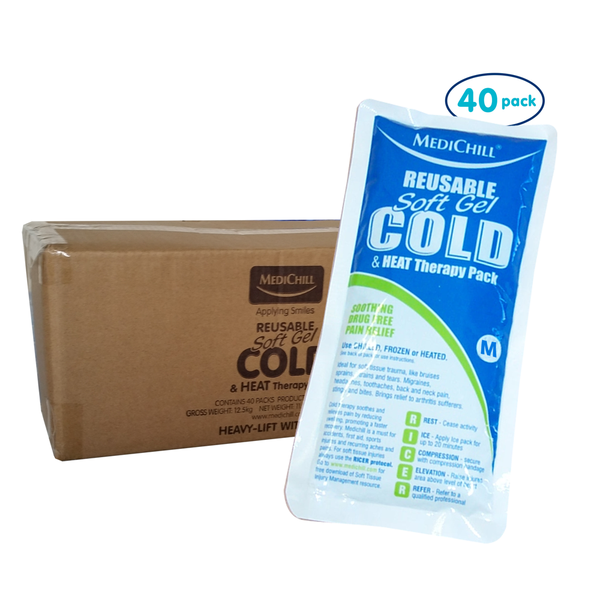 Medium Soft Gel Ice Pack Reusable Hot/Cold 40 Pack
