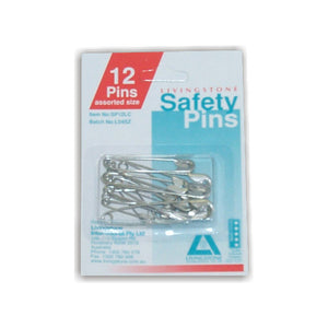 Safety Pins Assorted Sizes (Pack of 12)