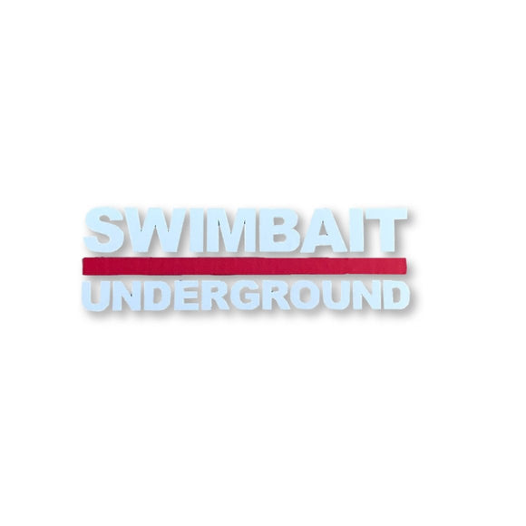Swimbait Underground Logo Lock Up Transfer Sticker - White