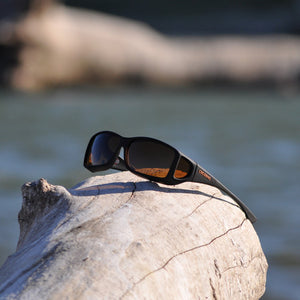 Cocoons Wide Line Black Amber Sunglasses
