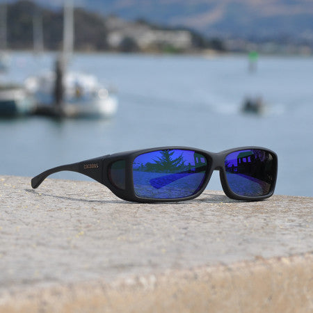 Cocoons Wide Line Black Blue Mirror Sunglasses