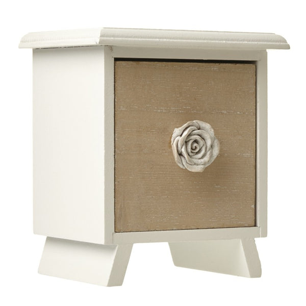 Single drawer mini chest with rose handle