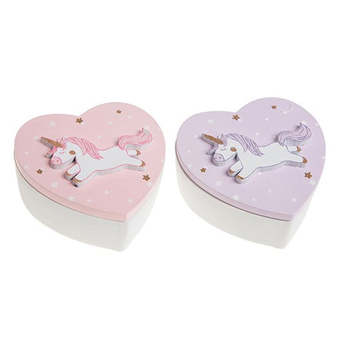 Unicorn Design Heart Shaped Trinket Box