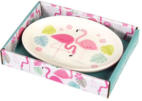 Ceramic Flamingo Trinket Dish