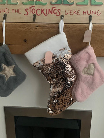Rose Gold Magic Sequin Christmas Stocking