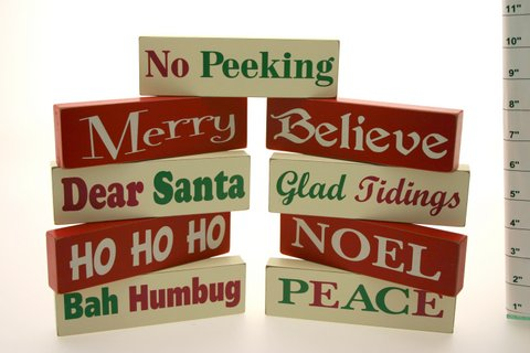 Mini Wooden Christmas Standing Sign Blocks
