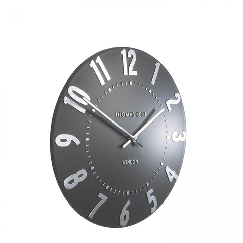 "12"" Mulberry Wall Clock Graphite Silver - Thomas Kent"