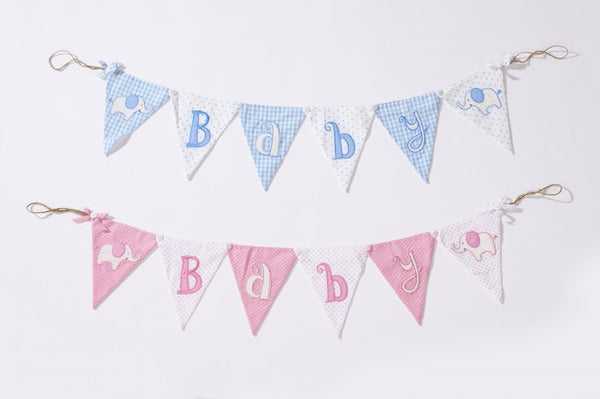 Baby boy & girl Elephant Bunting