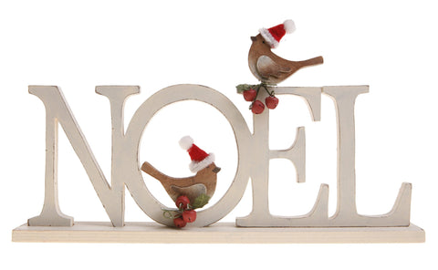 Standing Noel and Birds Decoration