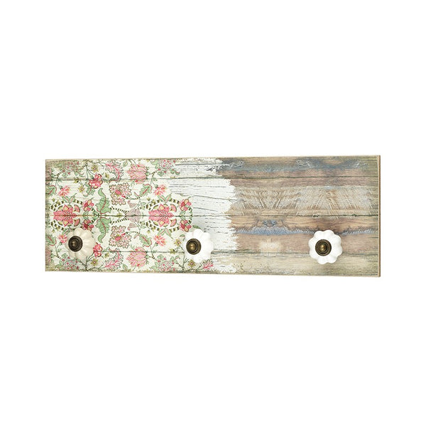 Distressed Floral Plaque With Knobs